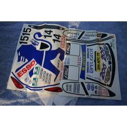 DECAL SHEET FOR PEUGEOT 206 1/8