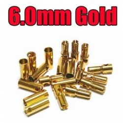 Gold Bullet Connector Plug 6 mm  (par)
